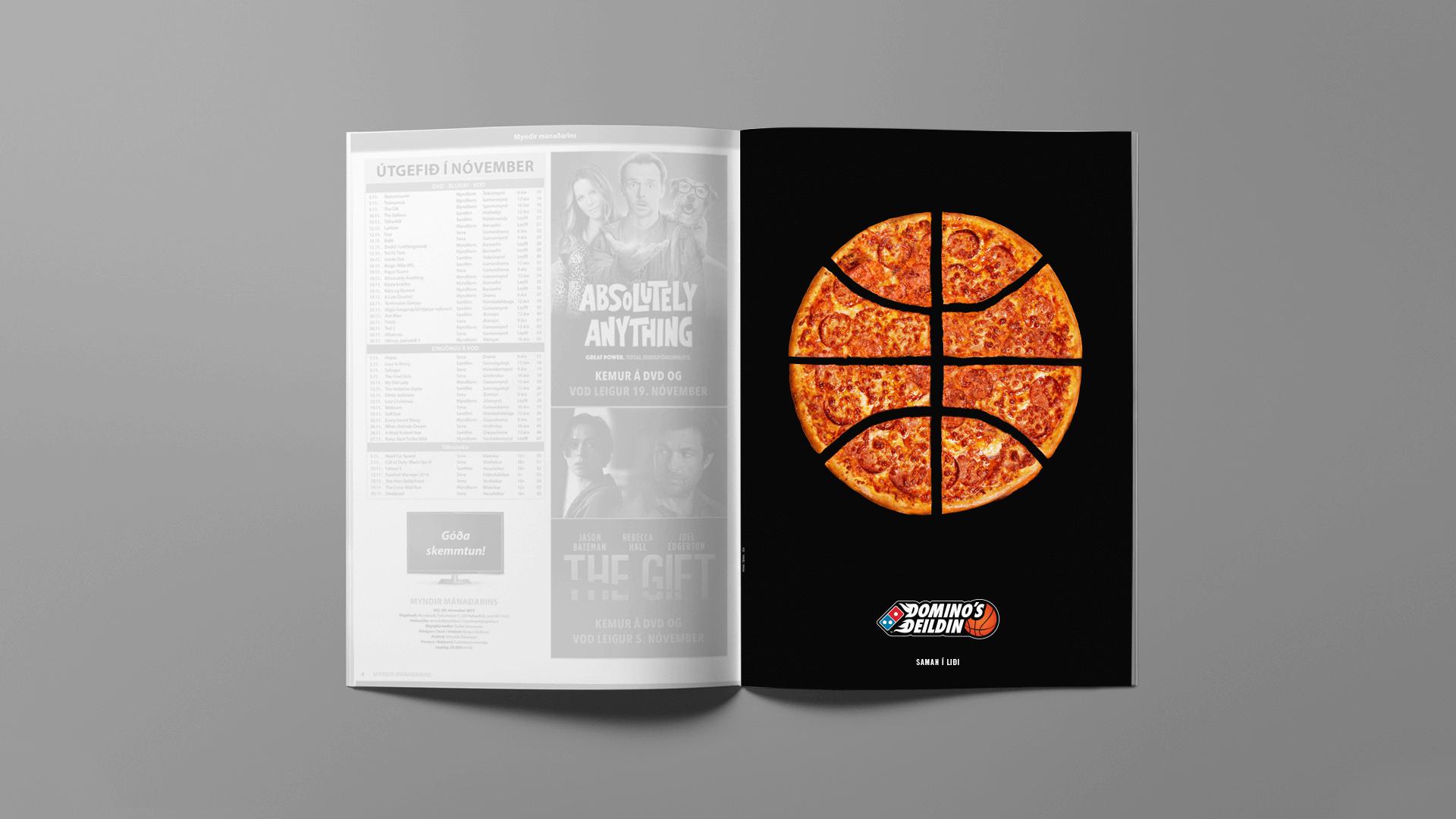 Auglýsing - pizza skorin eins og körfubolti.