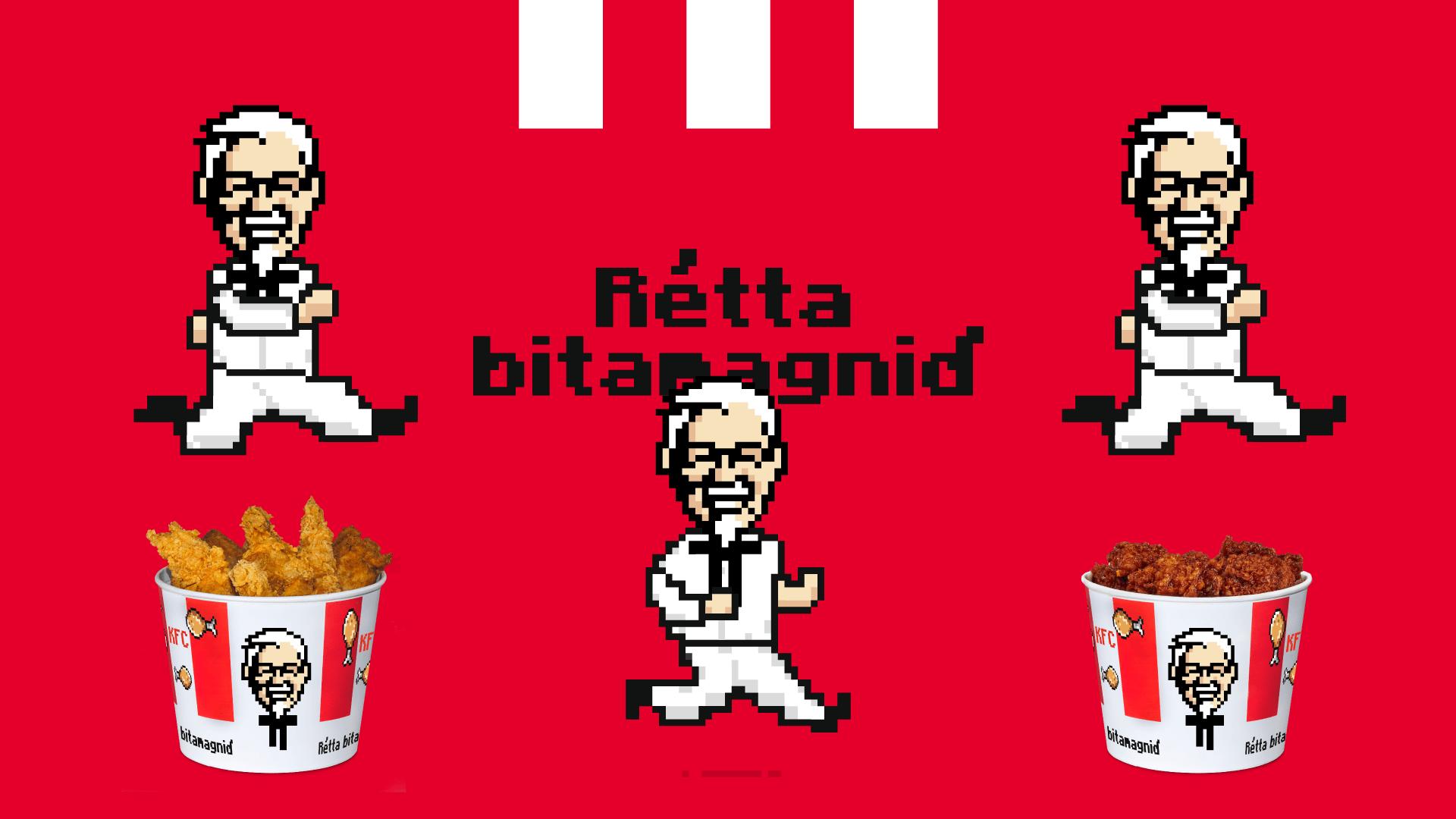 pixel-teikning af Sanders.